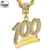 """Jewelry Kay style Men's Mini Hip Hop Iced Out 100 Emoji Pendant 24"""" Cuban Link Necklace CPB 1068 G"""