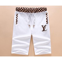 LV Louis Vuitton Summer Long Rock City Embroidered Letter Joker Shorts F-A00FS-GJ White