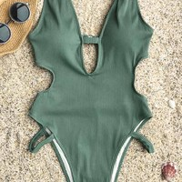 Cupshe Beauty Flash Solid One-piece Swimsuit
