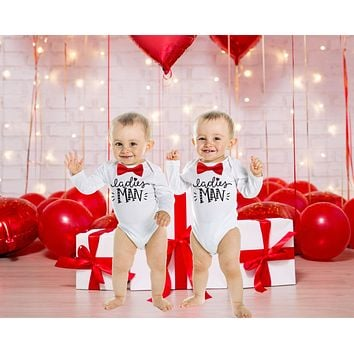 Baby Boy Valentines Day Outfit Argyle Bow Tie Ladies Man