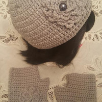 "L/XL Grey ""Handmade"" Crochet Beanie Set. Ready to Ship"