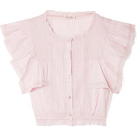 LoveShackFancy - Nora ruffled lace-trimmed cotton-voile top