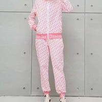 """""""DIOR""""Woman Leisure Fashion Wild Letter Printing Zipper Spell Color Long Sleeve Tops Elastic Band Trousers Two-Piece Set Casual Wear Sportswear"""