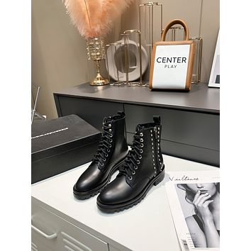 Alexander•wang2021  Trending Women's men Leather Side Zip Lace-up Ankle Boots Shoes High Boots07200wk