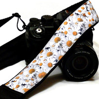 Daisies Camera Strap. Flowers Camera Strap. Nikon Canon Camera Strap. Photo Camera Accessories