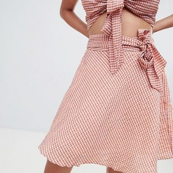 Glamorous Mini Skirt With Tie Waist In Mini Check Co-Ord at asos.com