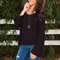 Ambria Bell Sleeve Top - Black