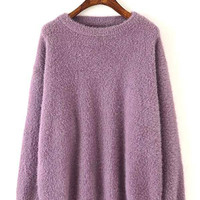 Purple Fluffy Long Sleeve Knitted Sweater