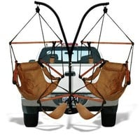 Trailer Hitch Stand and 2 Tan Hammaka Chairs Combo - WD