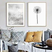 Dandelion Birds Quotes Canvas Painting Black White Poster Print Nordic Wall Art Picture for Living Room Home Decor Unframed