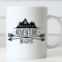 The Greatest Adventure Begins, Adventure Mug, Wedding Gift, Wedding Shower Gift, Bride Gift, Husband Gift, Graduation Gift, Gift For Grads