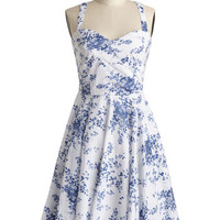 Louche Vintage Inspired Mid-length Tank top (2 thick straps) A-line Garden Home Tour Dress in Delft