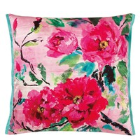 Chinese Fuchsia Peony Floral Throw Pillow