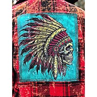 Rocker Skull Art Flannel - Distressed Red- Angry Minnow Vintage