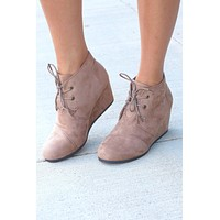 Sabrine Suede Wedge Booties {Taupe} - Size 10