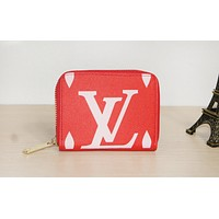 LV fashion hot selling lady's casual print zipper holding small purse #4