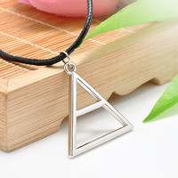 New 30 Seconds to Mars Band Style Pendant Necklace Triangle Geometric Shape Silver Leather Rope Band Necklace Free Shipping