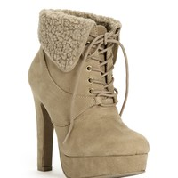 Sale-shearling Platform Lace Up Booties