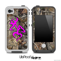 Real Camouflage with Hot Pink Heart Deer Logo Skin for the iPhone 4/4s or 5 LifeProof Case