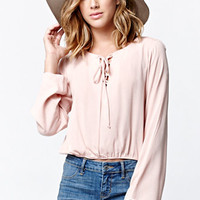LA Hearts Lace-Up Long Sleeve Cropped Top at PacSun.com