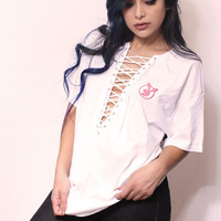 white lace up t-shirt with playboy patch