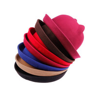 Fashion Wool Felt Women's Sun Hats Vintage  Lady Bowler Derby Summer Hat Cat Ear Animal Fedora Cap Not Deformed Good Package 20