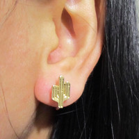 Small Cactus Stud Clip on Earring, C39s, Invisible Clip On Stud Earring, Gold Plate Non Pierced Earring, magnetic earring alternative