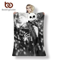 Nightmare Before Christmas Blanket Bed Throw plaid fourrure Black Sherpa Fleece Blanket