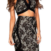 Black Floral Lace Cutout Crop Top And Curved Hem Mini Skirt