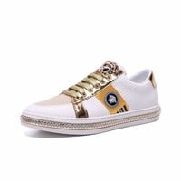 Versace Fashion Casual Running Sport Shoes White Yellow Gold Sneakers  - Best Deal Online