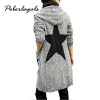 2017 Autumn Winter Fashion Women Print Thicker loose hooded Long knitting Cardigan sweater Womens Knitted Cardigan pull Female