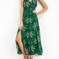 Boho Floral Print Split Cami Backless V-neck Maxi Dress For Women