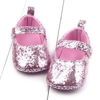 New fashion 1 Pair Toddler Girl Soft Sole Crib Shoes Sequins Sneaker Baby Shoes Comfortable Shoes birthday party n# dropship