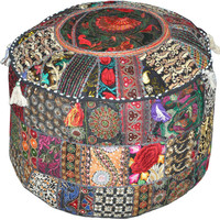 Bohemian Round Indian Ottoman Patchwork Pouf Cocktail Living Room bean bag Big Hassock Cover floor seat stool cover furniture pouffe Pillow