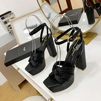 ysl women casual shoes boots fashionable casual leather women heels sandal shoes 209