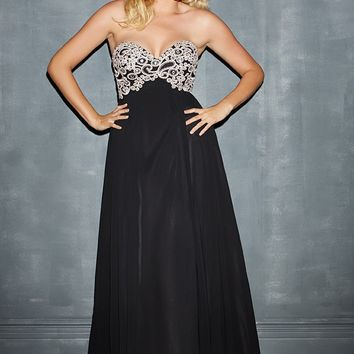 Night Moves 7120W Strapless Chiffon Plus Size Gown