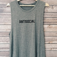 AntiSocial Tank (Heather Grey)