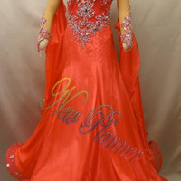 Women Ballroom Smooth Tango Standard Dance Dress US 6 UK 8 Orange Sliver Lace