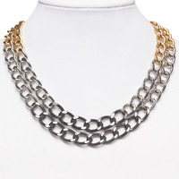 Mixed Metal Chain-Link Necklace | Wet Seal