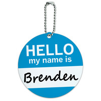 Brenden Hello My Name Is Round ID Card Luggage Tag