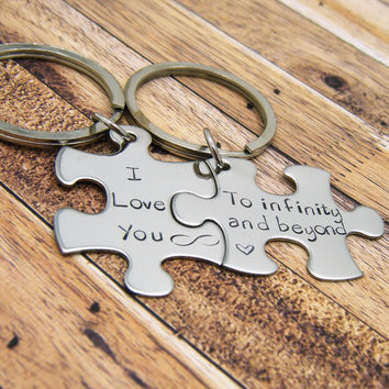 I Love you to infinity and beyond, couples keychains , Anniversary Gift