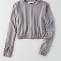 Don't Ask Why Cropped Terry Sweatshirt, Lively Lilac