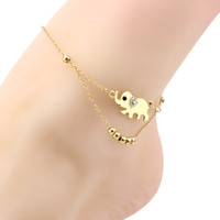 Gold Plated Lucky elephant Metal Beads Anklet bracelets Foot Jewelry