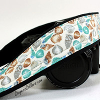 Seashell dSLR Camera Strap, Beach, Blue, Ocean, dSLR, SLR, Aqua