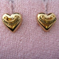 Auth Juicy Couture Puffed Heart Gold Studs Earrings