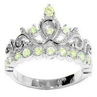 JewelsObsession's 14K Gold Princess Crown CZ Peridot Ring (August Birthstone)