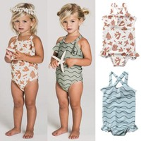 Toddler Ruffles Swimwear Kids Baby Girl One-piece Bikini Strappy Tankini Swimsuit Children Summer Bathing Suit Beachwear