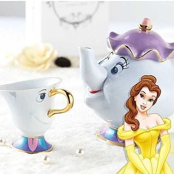 New Cartoon Beauty And The Beast Teapot Mug Mrs Potts Chip Tea Pot Cup One Set Lovely Christmas Gift Fast Post