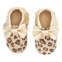 Leopard & Gold Leather Bow Baby Moccasins