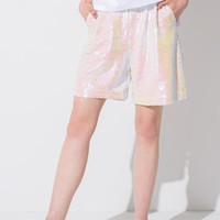White Sequin Sporty Shorts